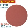 SANDING DISC PSA 125MM 120 GRIT NO HOLE 10/PK