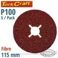 FIBRE DISC 115MM 100 GRIT 5/PACK