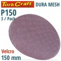 DURA MESH ABR.DISC 150MM HOOK AND LOOP 150GRIT 3PC FOR SANDER POLISHER