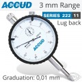 ACCUD DIAL INDICATOR LUG BACK 0-3MM 0.01MM WITH LOCK SCREW