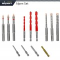 DRILL-SCREWSET KIT 13 13 PCS C PROT,MULTI 6-KANT,SDS-PLUS FORCE X4 BIT