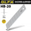OLFA BLADES FOR H1 AND XH1 KNIFE 20 PER PACK 25MM