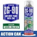 ZG-90 GREEN 500ML ANTI RUST SPRAY COLD ZINC GALVANISING RAPID DRY
