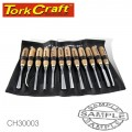 CHISEL SET WOOD CARVING 12PIECE IN LEATHER POUCH
