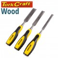 WOOD CHISEL 140MM BLADE 3PC 13/19/25 WITH PVC HANDLE