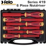 FELO 419 NUT DRIVER SET 6PC ERGONIC INSULATED VDE SL HARD CASE