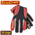 MECHANICS GLOVE 3X LARGE SYNTHETIC LEATHER REINFORCED PALM SPANDEX RED