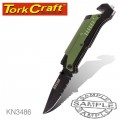 KNIFE SURVIVAL GREEN WITH LED LIGHT & FIRE STARTER IN DOUBLE BLISTER