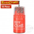 DRILL BIT 18 SET COMBO WOOD + MASONRY + HSS IN  RED PLASTIC CONTAINER