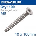 CONCRETE SCREW BOLT M8 10X100 MM CSK HEAD ZINC FLAKE COAT 100/BOX