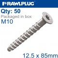 CONCRETE SCREW BOLT M10 12,5X85 MM CSK HEAD ZINC FLAKE COAT 50/BOX