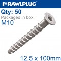 CONCRETE SCREW BOLT M10 12,5X100 MM CSK HEAD ZINC FLAKE COAT 50/BOX