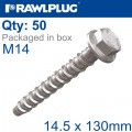 CONCRETE SCREW BOLT M14.5X13 MM HEX HEAD ZINC FLAKE COAT 50/BOX