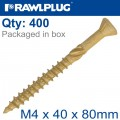 R-DSX SCREWS M4 X 40X24 GINGER RUSPERT X400-TUB