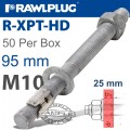 R-XPT HOT DIP GALVANIZED THROUGHBOLTS M10X95MM X50 PER BOX