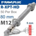 R-XPT HOT DIP GALVANIZED THROUGHBOLTS M12X80MM X50 PER BOX