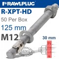R-XPT HOT DIP GALVANIZED THROUGHBOLTS M12X125MM X50 PER BOX
