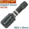 IMPACT SQUARE RECESS INS.BIT NO.3X25MM 2/CARD SQ3