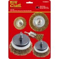 WIRE BRUSH SET 5PCE WITH 6MM SHAFT CUP/CIRC/END
