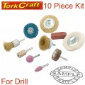 WIRE BRUSH SET 10 PIECE WITH HEX SHANK & BUFF KIT FOR DRILL
